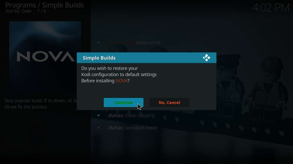 guide to install kodi nova build