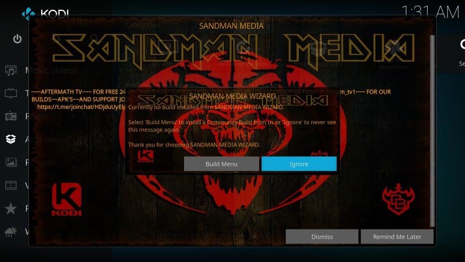 kodi sandman builds