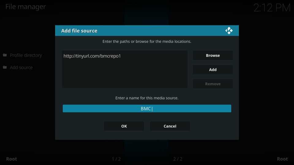 install bmc build on kodi