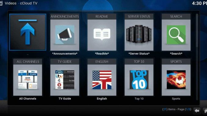 cCloud TV Addon Guide - Kodi Reviews
