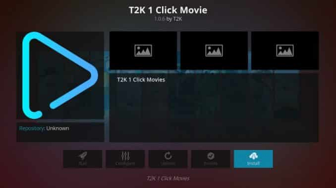 how to install t2k 1 click movie kodi addon