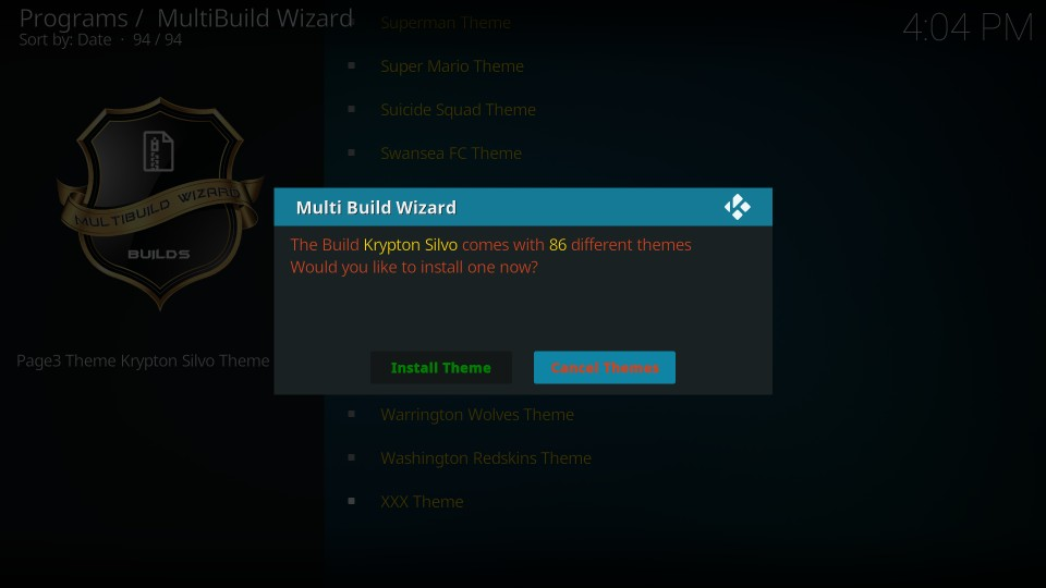 how to install silvo build kodi