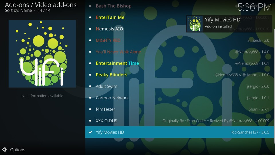 yify movies hd kodi addon