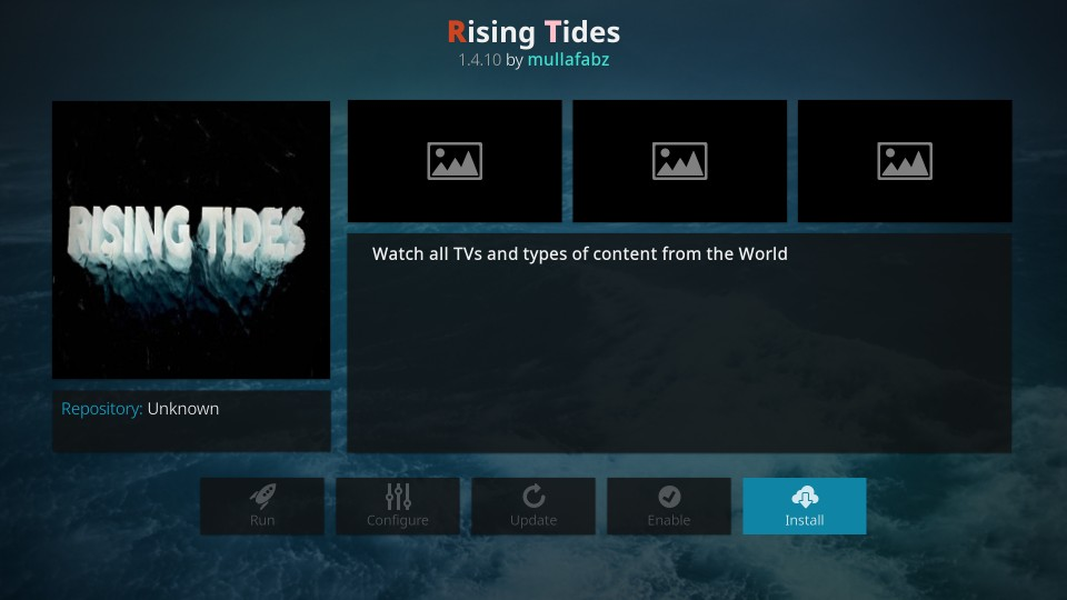 how to install rising tides kodi addon