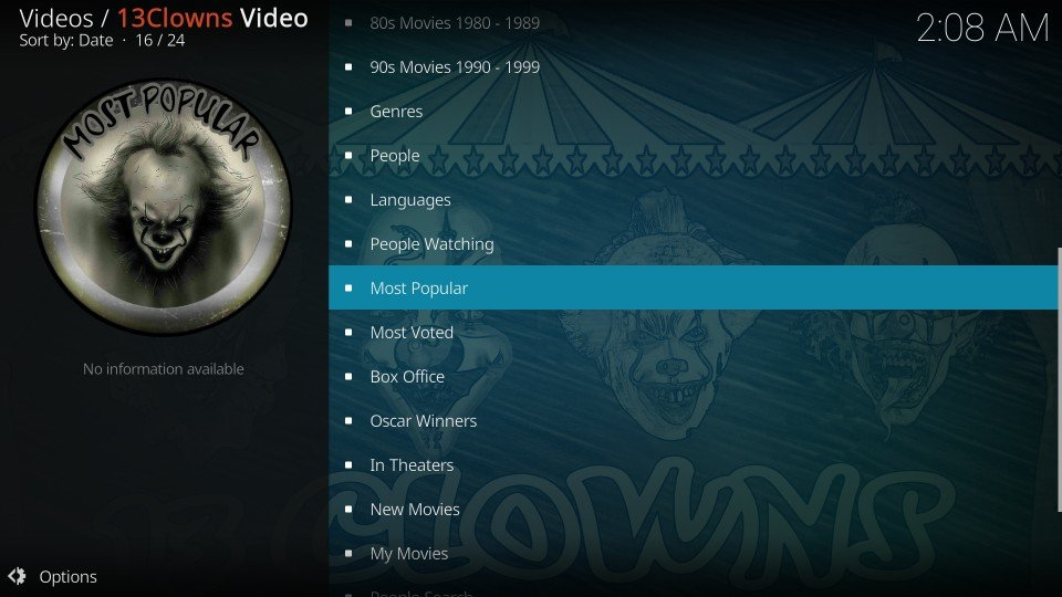 13 clowns video addon categories