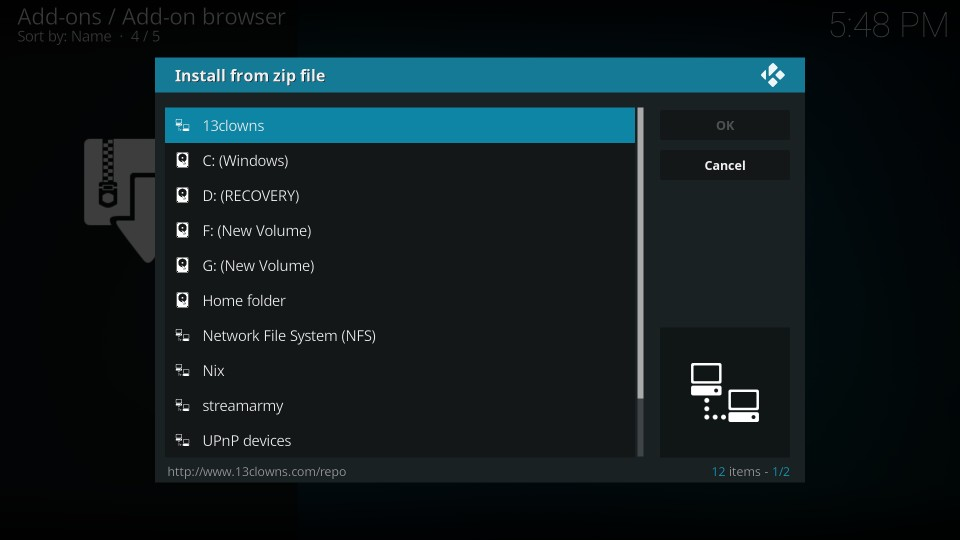 13 clowns addon on kodi