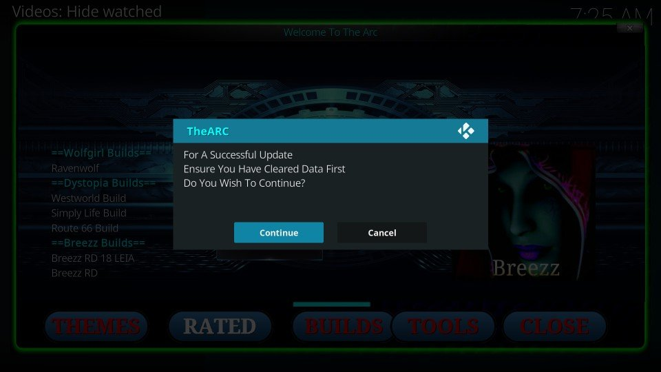 how to install arc builds on kodi