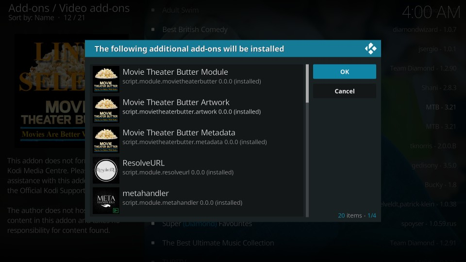 movie theater butter kodi leia addon