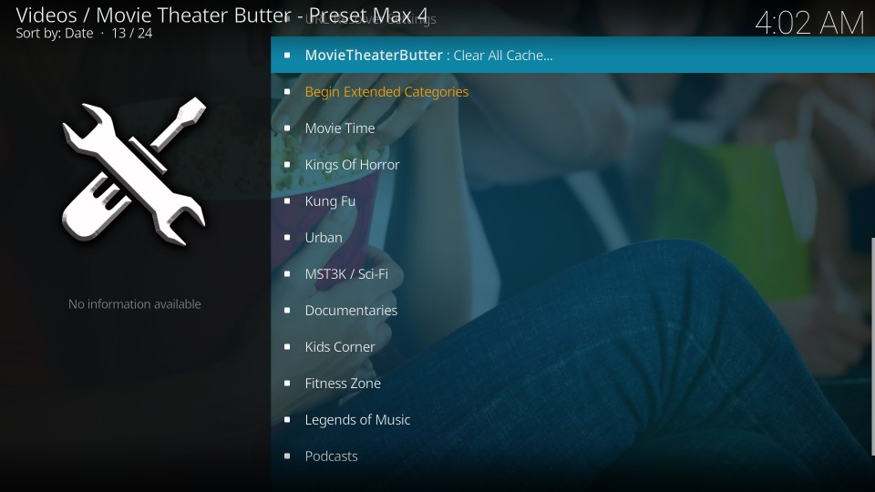 how to install and use movie theater butter kodi addon