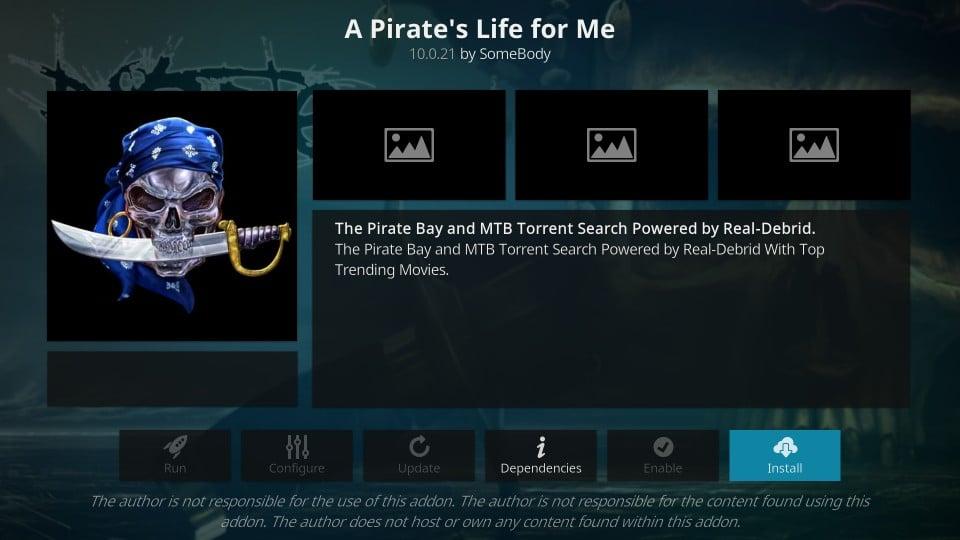 a pirate's life for me kodi addon