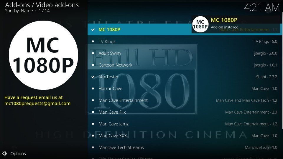 how to use mc 1080p addon on kodi