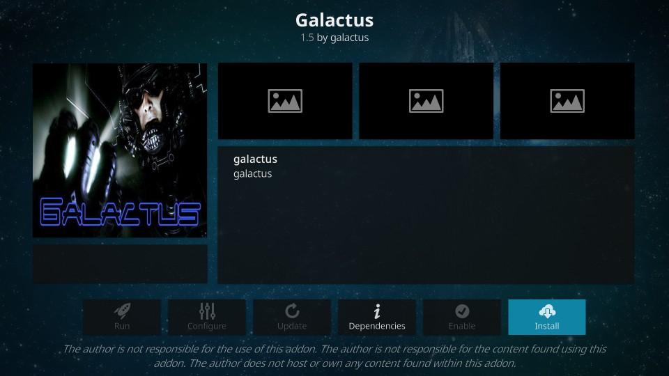 how to install galactus addon on kodi