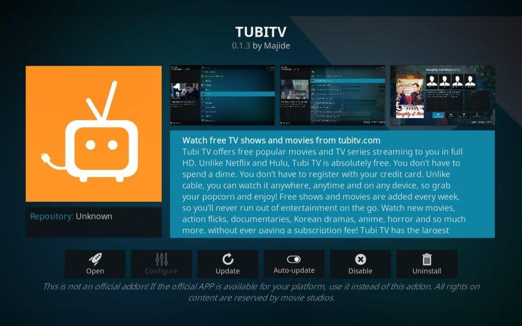 TubiTV Kodi addon