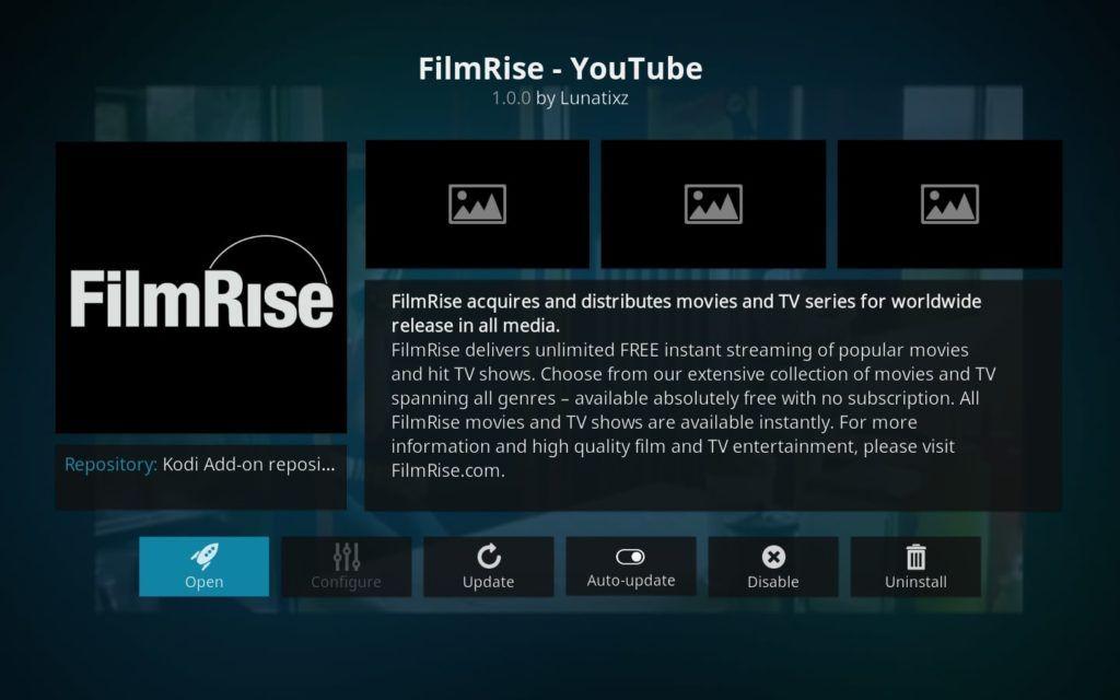 FilmRise Youtube Kodi addon
