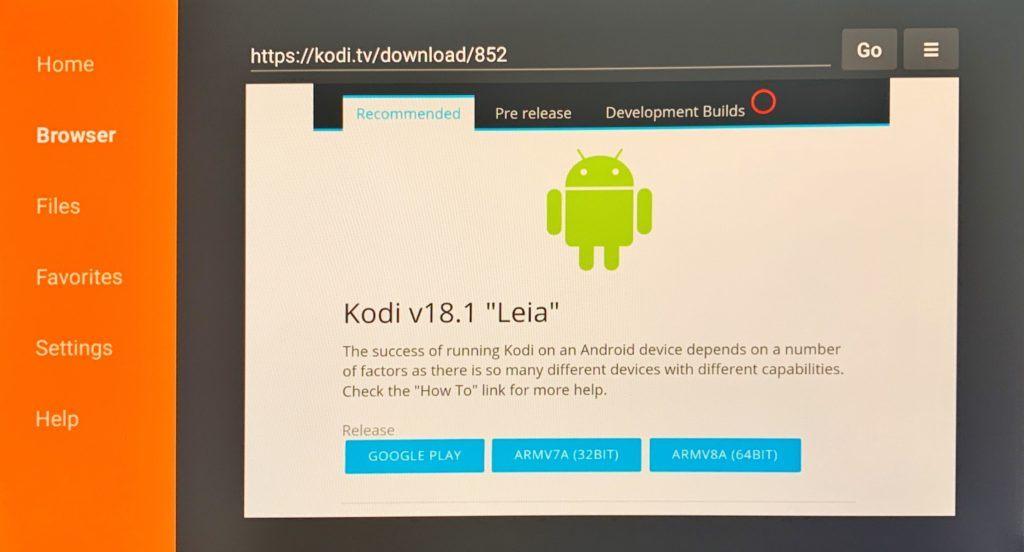 Kodi android app on Firestick