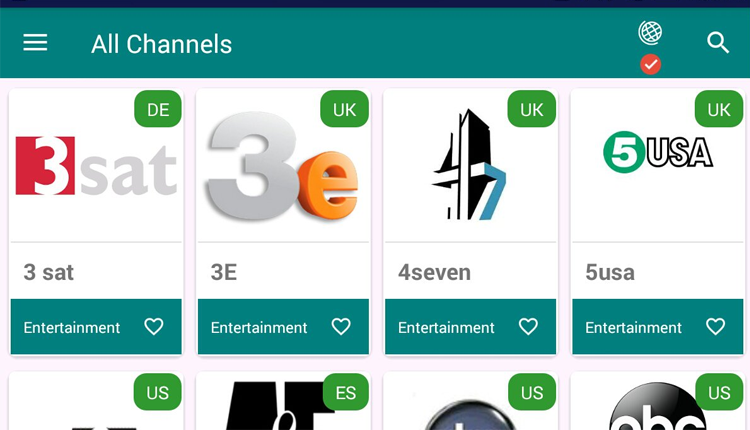 The TVTap IPTV application layout