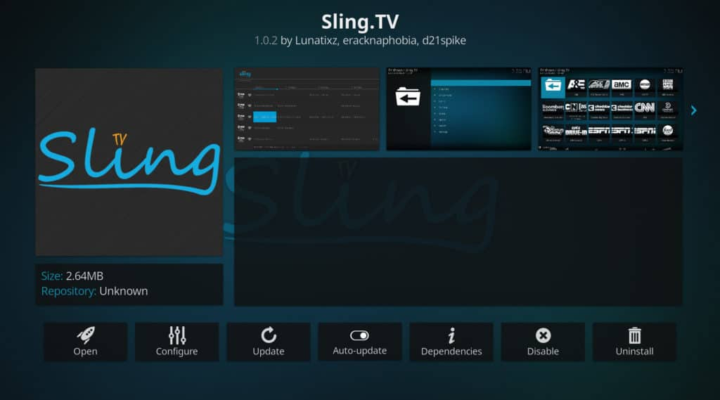 Sling TV kodi us masters