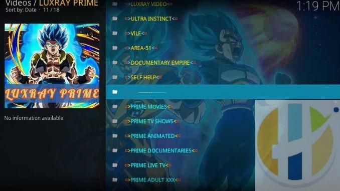 Luxray Prime Kodi Addon Guide