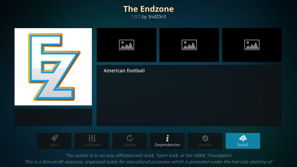 the endzone kodi addon
