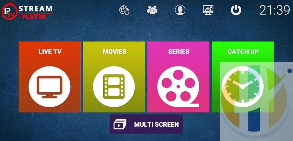 IPTV Stream Player FRONT SCREEN