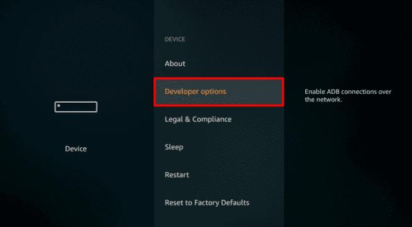 Select Developers Option