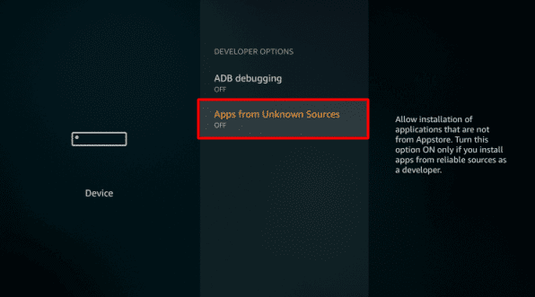Apps from Unknown Sources option