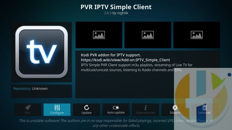setup pvr iptv simple client on kodi