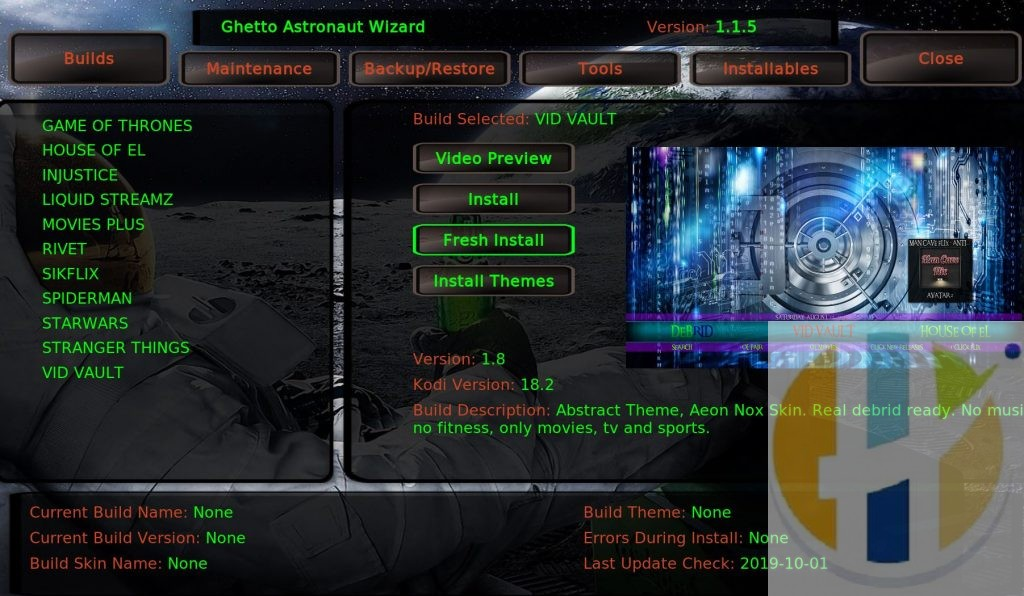 Ghetto Astonaut Kodi 18 Builds
