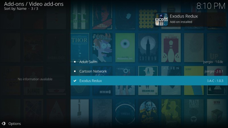 exodus redux installed on kodi notification