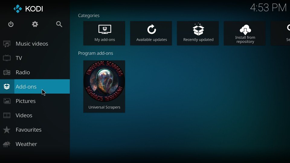 kodi addons settings
