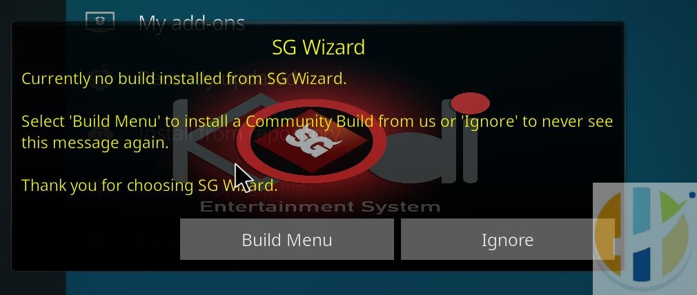 KODI SG Wizard Click Builds Menu