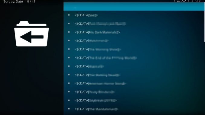 tv shows not working on kodi addons due to cdata error