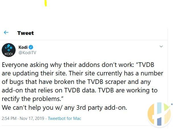 kodi tvdb are working