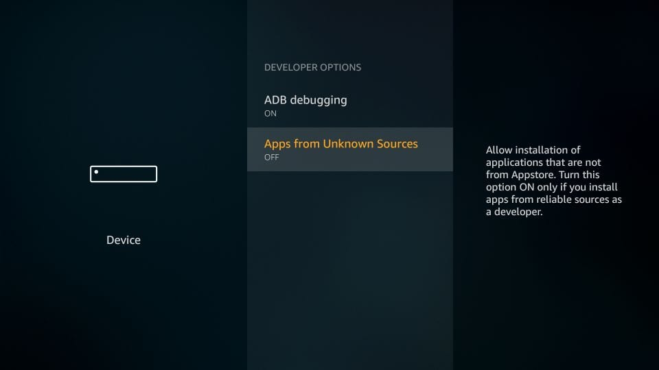 allow apps from unknown sources on amazon firestick