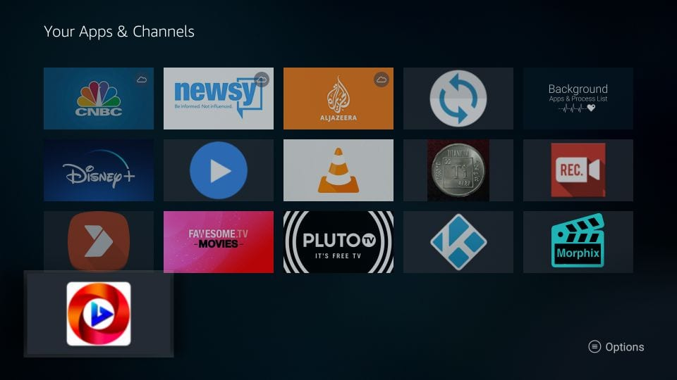 move oreo tv apk on home screen of Firestick