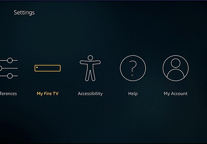 Amazon Fire TV settings screen