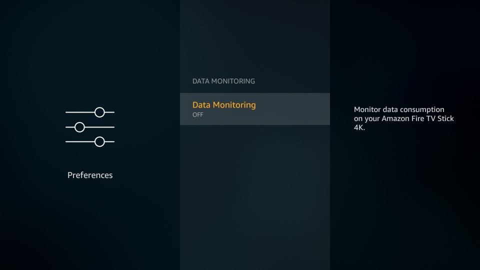turn off data monitoring on amazon firestick