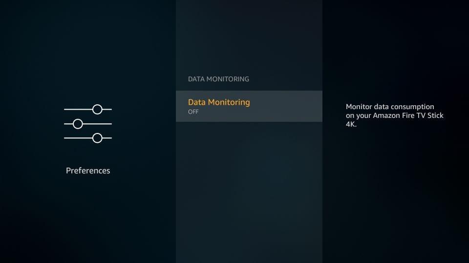 turn off data monitoring on amazon firestick
