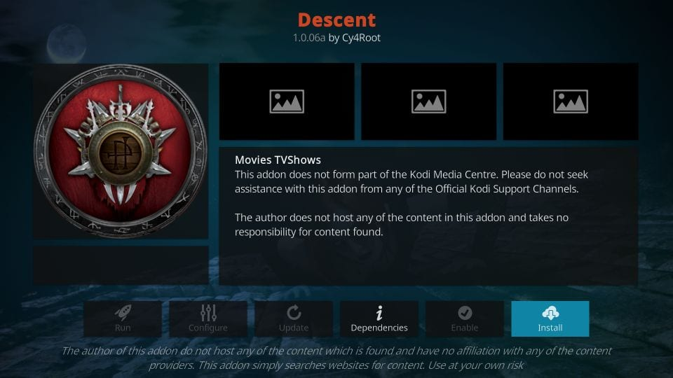 How to install descent addon on kodi