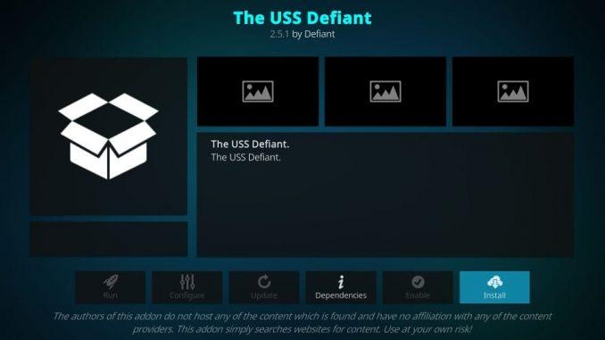 how to install the USS Defiant addon on Kodi