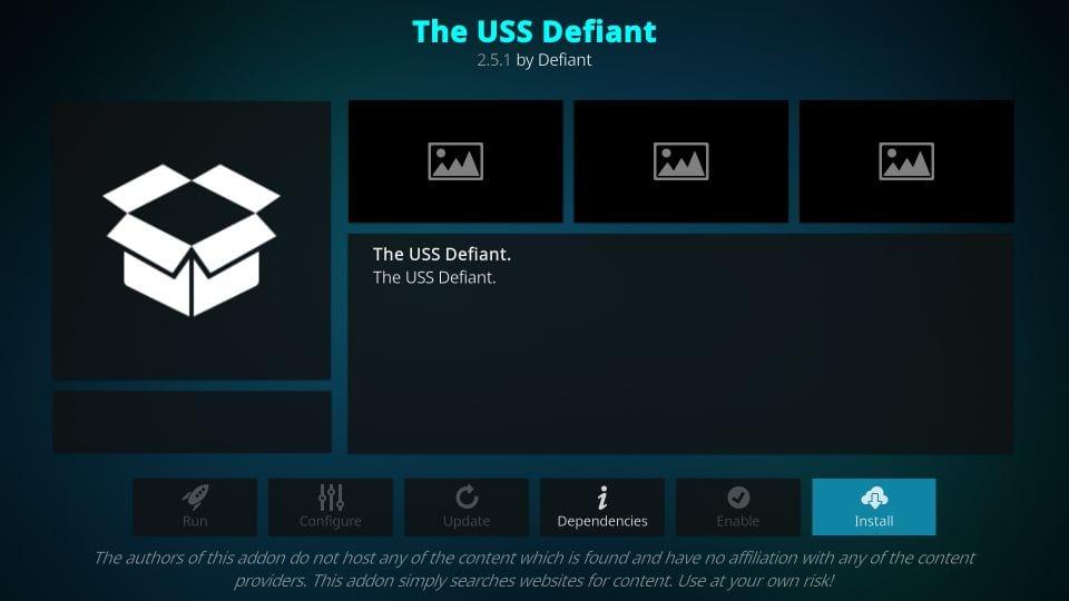 how to install the USS defiant kodi addon