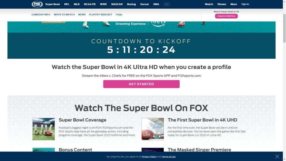 Super Bowl on Firestick
