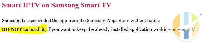 smart iptv message for samsung tv users