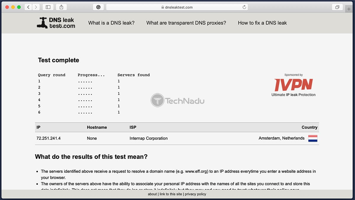 Unlocator Passes DNS Leak Test