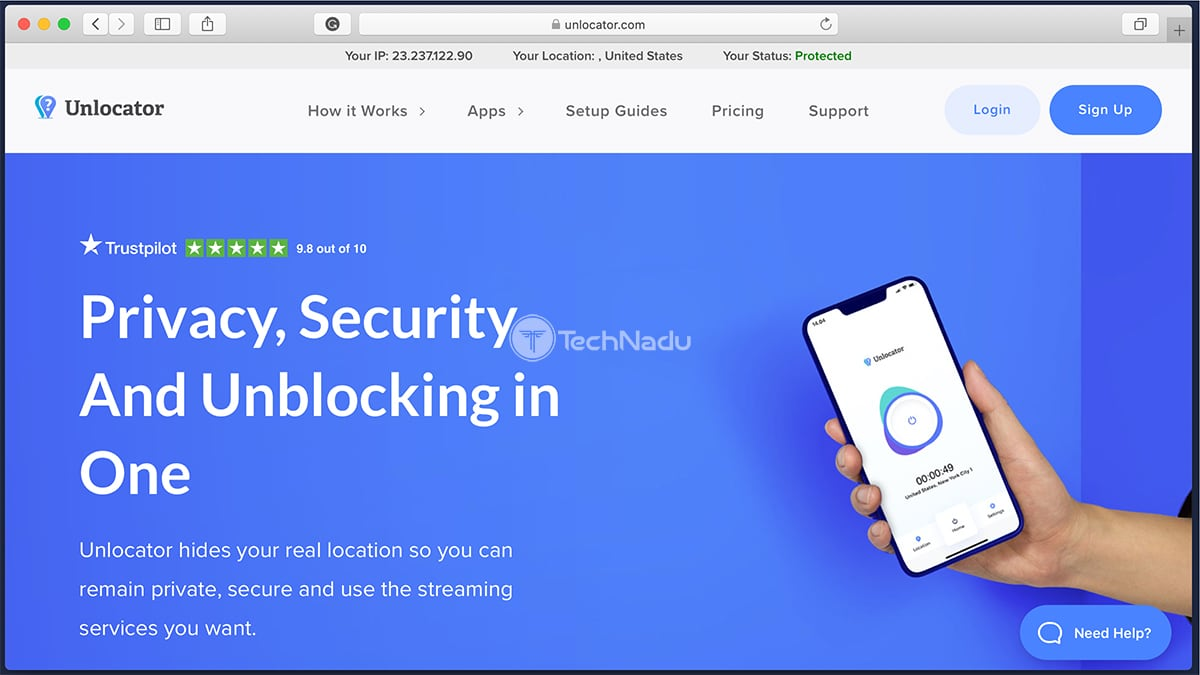 Link to Unlocator VPN Website Homepage