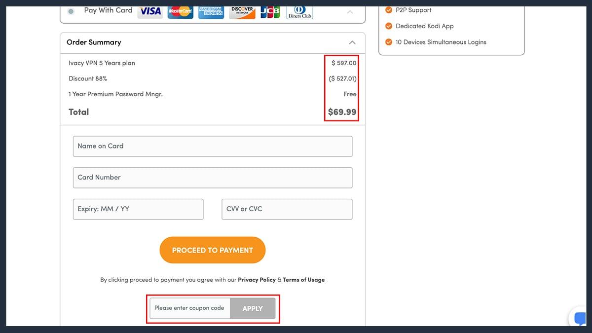 Ivacy VPN Order Form