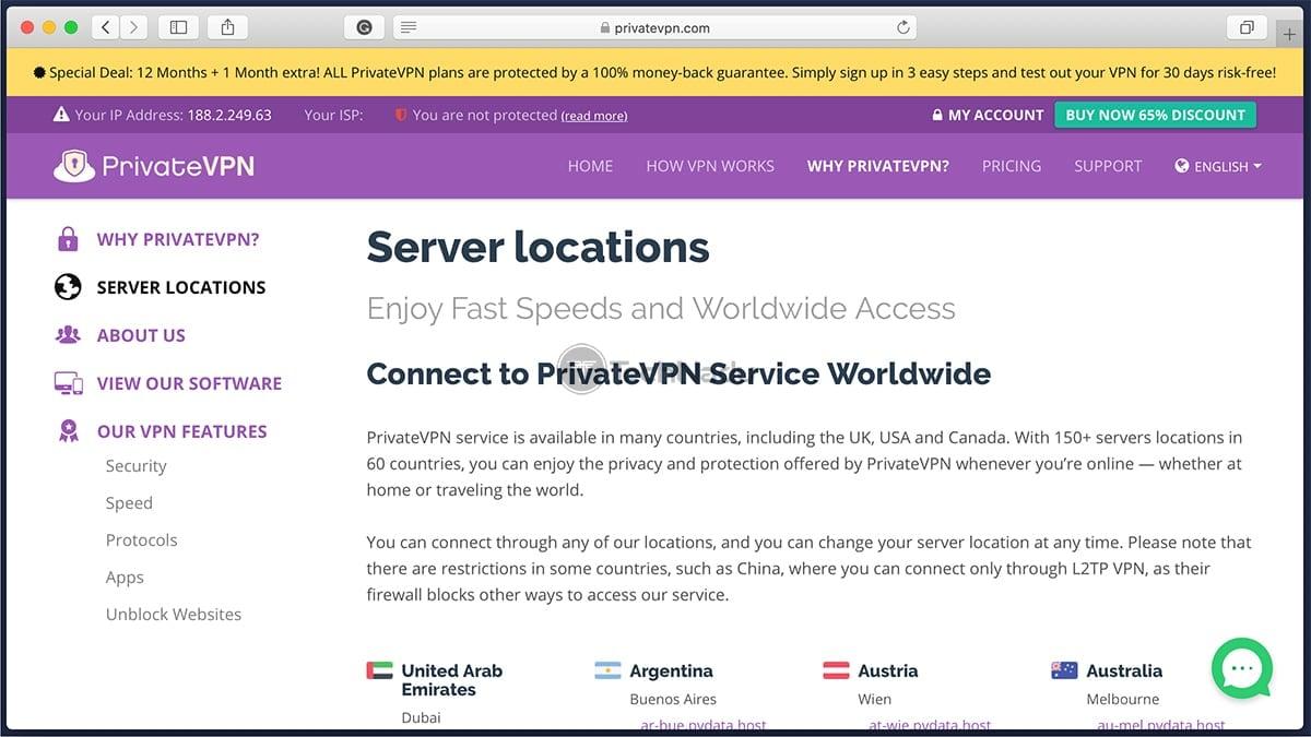 Server Locations PrivateVPN