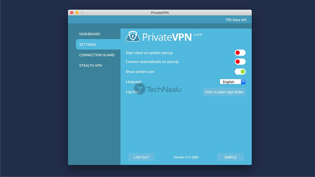 PrivateVPN Settings Panel