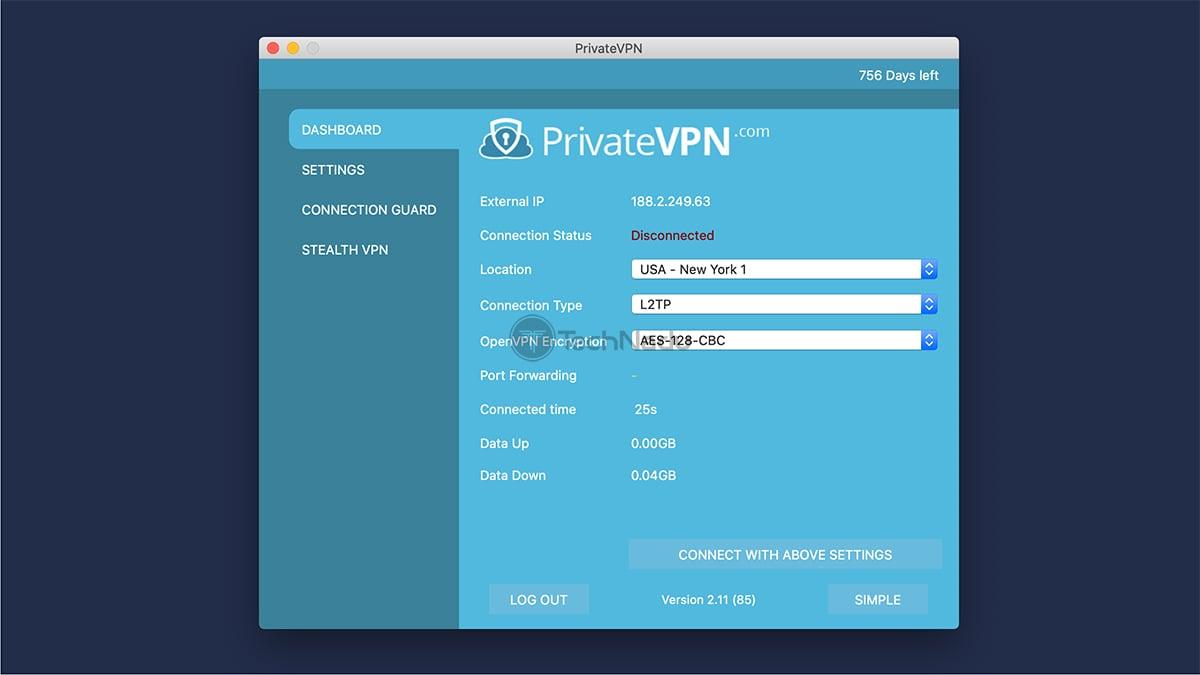 PrivateVPN Home Screen UI macOS