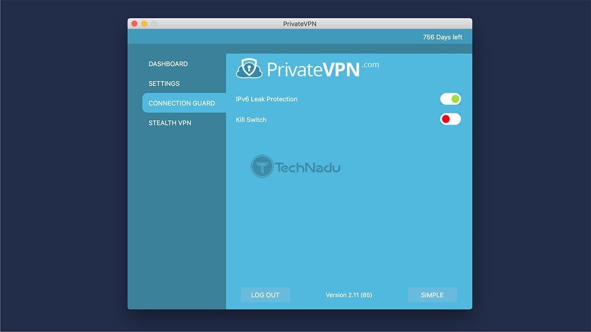 PrivateVPN Advanced Options Panel